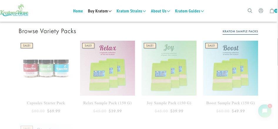 Kratom Wave Website Products